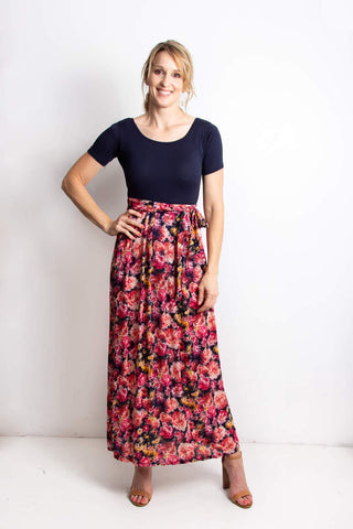 Angie Maxi Dress| Navy and Floral