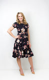 Anna Dress- Navy Floral with Bow
