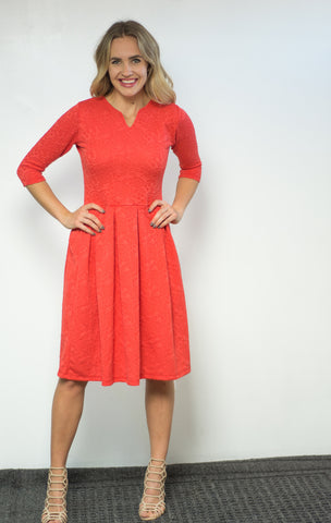Autumn Dress - Floral Coral Red