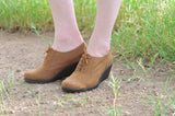 brown suede wedge lace up shoes Leather
