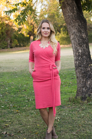 Comfortable Modest Dress Coral Faux Wrap Dolman Sleeve.