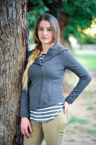 collar weave jacket charcoal gray grey angled zip up jacket