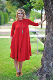Comfortable Modest dress red knee length swing dress