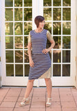 May Nursing Dress - Navy & Cream Stripe with Gold Sleeves