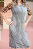 Jordan Dress- Gray Tie-Dye with Leopard Sleeves