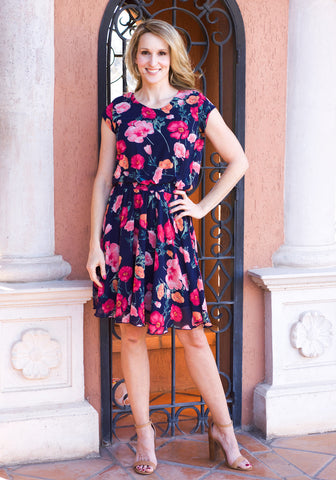 Jenna Dress- Navy & Poppy Floral