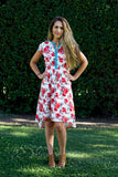 Jessica Dress- Red and White Floral High-Low