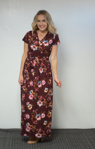 Jillian Dress- Burgundy Floral
