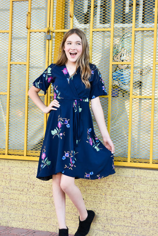 Liz Tween Dress | Blue Embroidered Floral Wrap