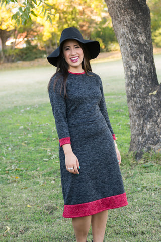 Comfortable Modest Sweater Dress Black and Red