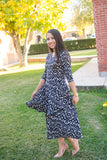 Comfortable modest Dress Black and white layered ruffled Skirt Dress