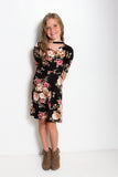 Kate Tween Dress | Black Floral Choker Neck