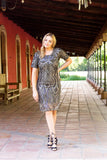 Mindy Dress | Black and Nude Sequin