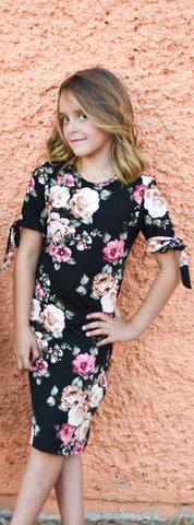 Mady Tween Dress | Black floral