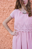 Maggie Tween Dress | Blush Eyelet Scalloped