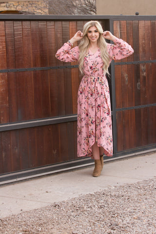 Marguerite Dress- Pink Floral High-Low