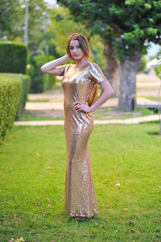 Gold Sequin Dress, Comfortable Modest  Formal Dress