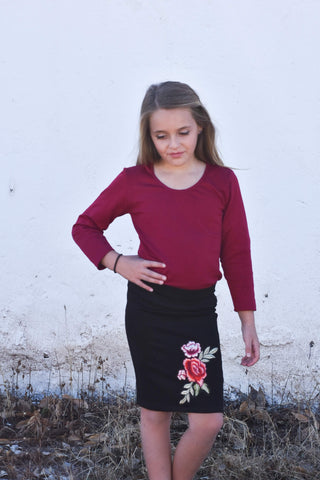 Rosalie Tween Skirt | Black with Flower