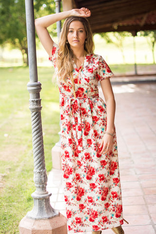 Comfortable Maxi Dress Red Floral Modest Dress