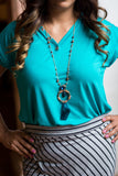 Goes with everything modest shirt blouse top Jade teal blue aqua