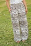 Palazzo Wide Leg Pants Brown White