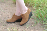 brown suede wedge lace up shoes