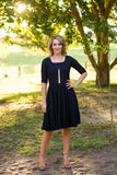 Comfortable Modest dress Navy blue stretch lace knee length dress