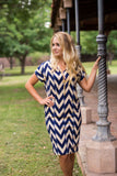 Comfortable Modest Blue and Cream chevron knee length bag dress
