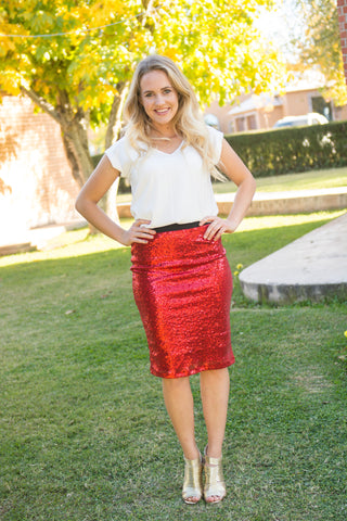 Red Sequin Modest Pencil Skirt