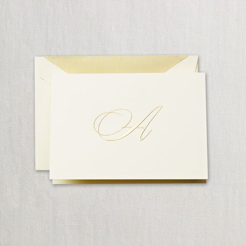 Bespoke personalised correspondence cards gold
