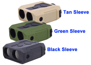 Newcon LRM-3500M Laser Range Finder Monocular, showing Black, Green and Tan Sleeve options