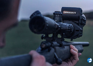 Pulsar Forward DFA75 Digital Clip-On Night Vision Scope, shown mounted to day vision scope