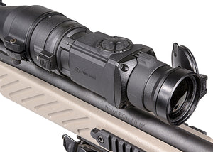 Pulsar Core FXQ38 and FXQ50 Thermal Imaging Clip-On Attachments, mounted to day scope