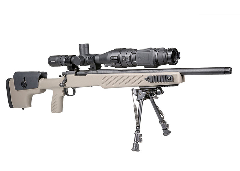 Pulsar Core FXD50 Thermal Imaging Scope, shown mounted to a day vision hunting scope