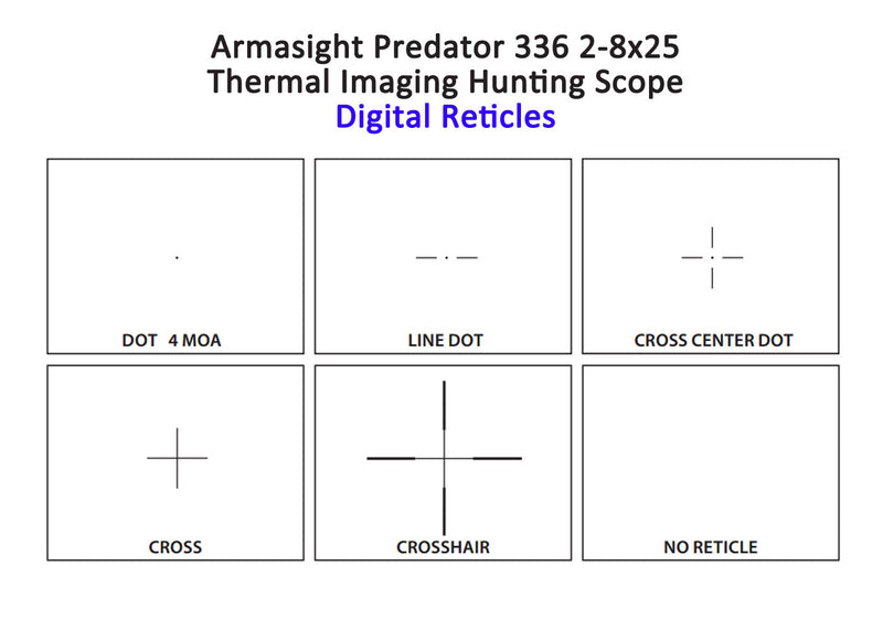 Armasight Predator 336 2-8x25 Thermal Imaging Hunting Scope, 6 user-selectible digital reticles