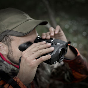 Pulsar Accolade XQ38 LRF Thermal Imaging Binoculars, shown in use