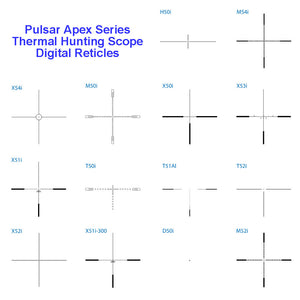 Pulsar Apex Series Thermal Hunting Scopes, selectable digital reticles