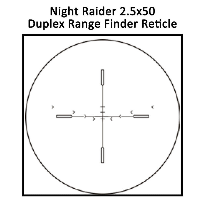 Sightmark Night Raider 2.5x50 Gen1+ Night Vision Hunting Scope, Duplex Range Finder Reticle shown