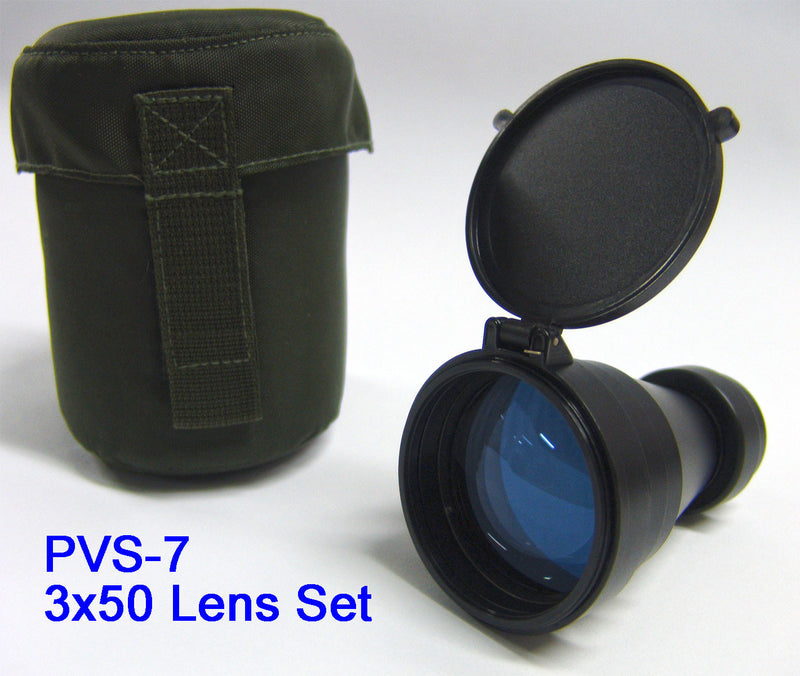 PVS-7 3x50 Pinnacle Gen3 Auto-Gated Night Vision Binoculars, 3x50 Lens Set