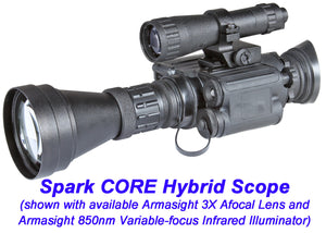 Armasight 3X Afocal Lens, shown mounted with an Armasight 850nm Variable-focus Infrared Illuminator to an Armasight Spark CORE Hybrid Scope