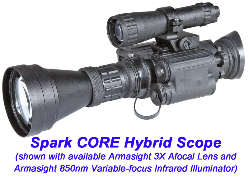 Armasight 850nm Variable-focus Infrared Illuminator, shown mounted with an Armasight 3X Afocal Lens to an Armasight Spark CORE Hybrid Scope