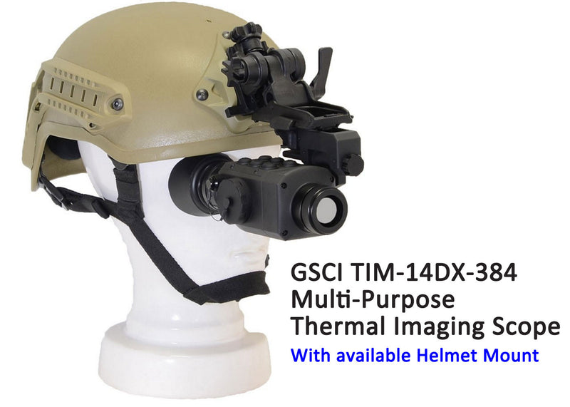 GSCI TIM-14DX-384 Multi-Purpose Thermal Imaging Scope, 50Hz.  Shown with available Helmet Mount