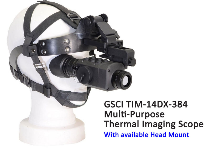 GSCI TIM-14DX-384 Multi-Purpose Thermal Imaging Scope, 50Hz.  Shown with available Head Mount