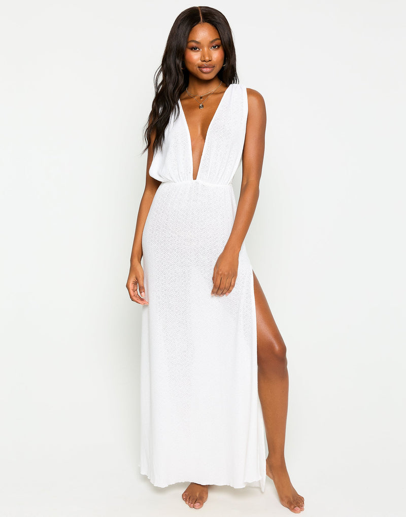 Annika Beach Cover Up Maxi Dress in White - Front View