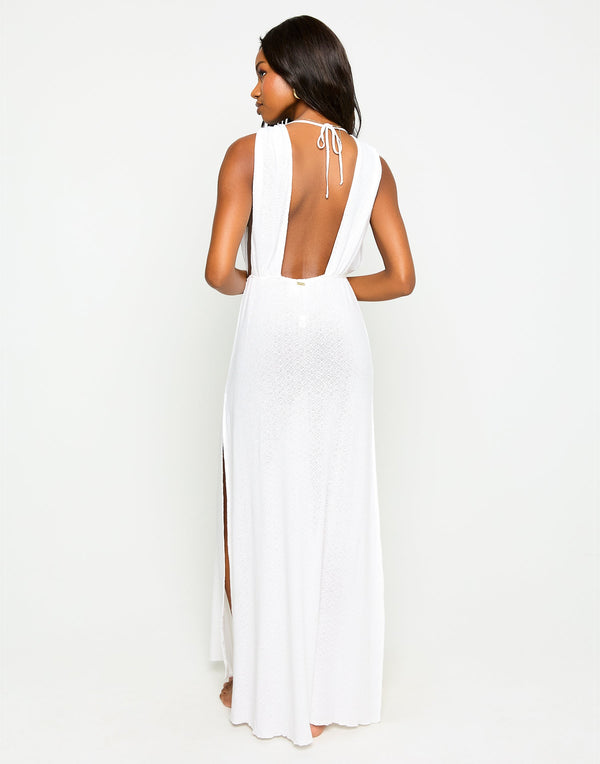 Annika Beach Cover Up Maxi Dress in White - Back View