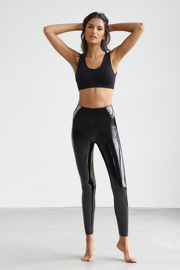 Faux Patent Leather Legging - Black