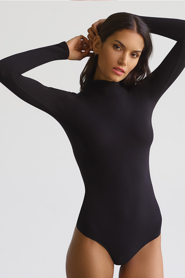 Ballet Mockneck Long Sleeve Bodysuit - Black