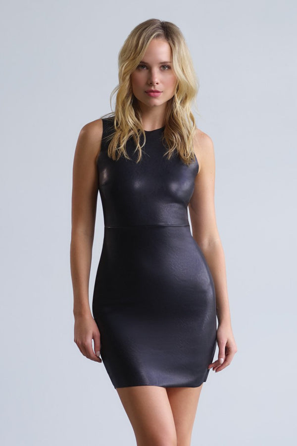 Faux Leather Signature Dress - Black