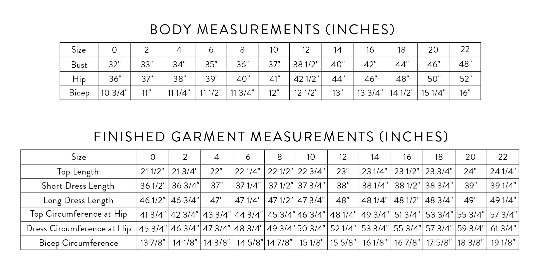Shift Size Chart Inches