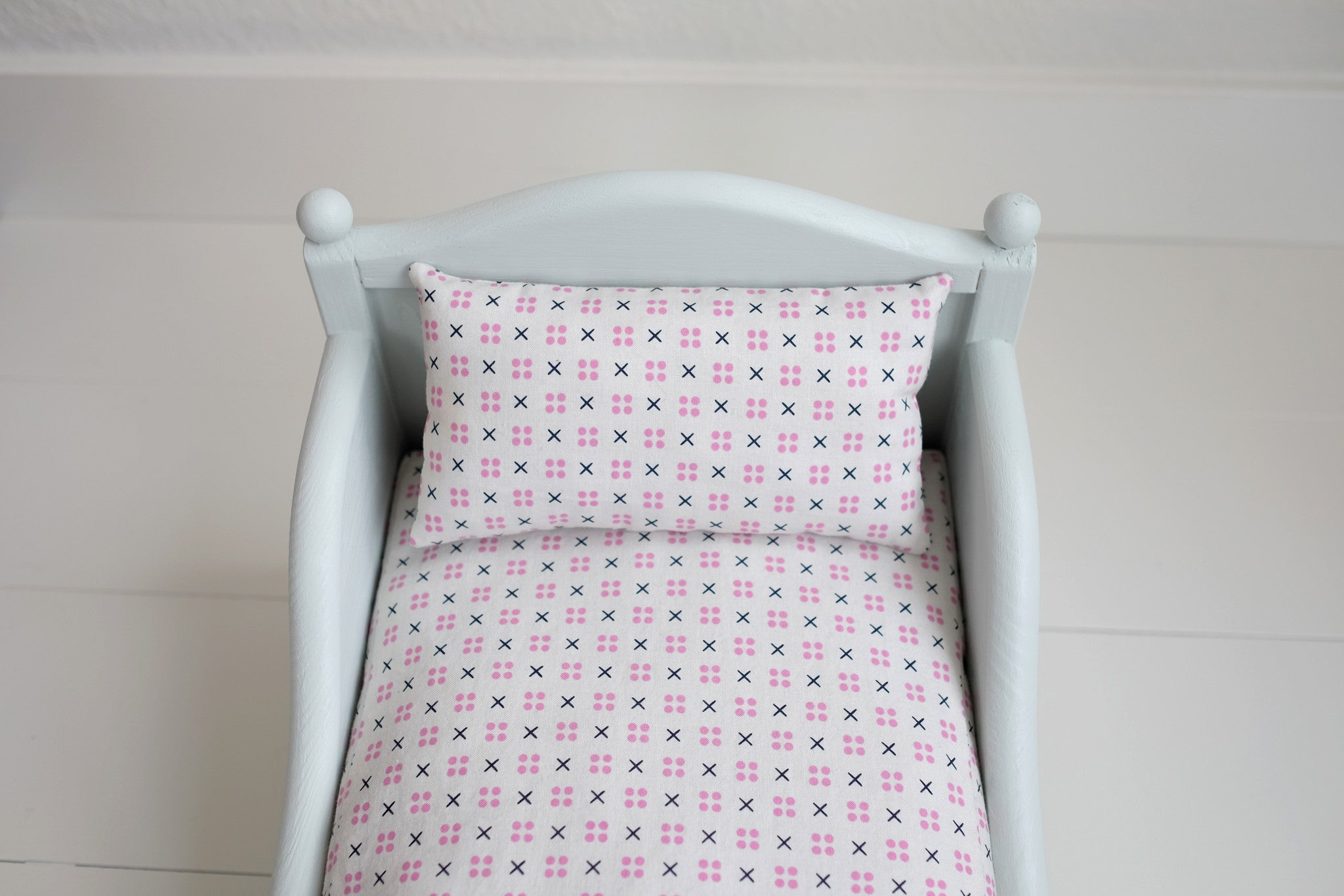 Painted Doll Bed with Handmade Bedding